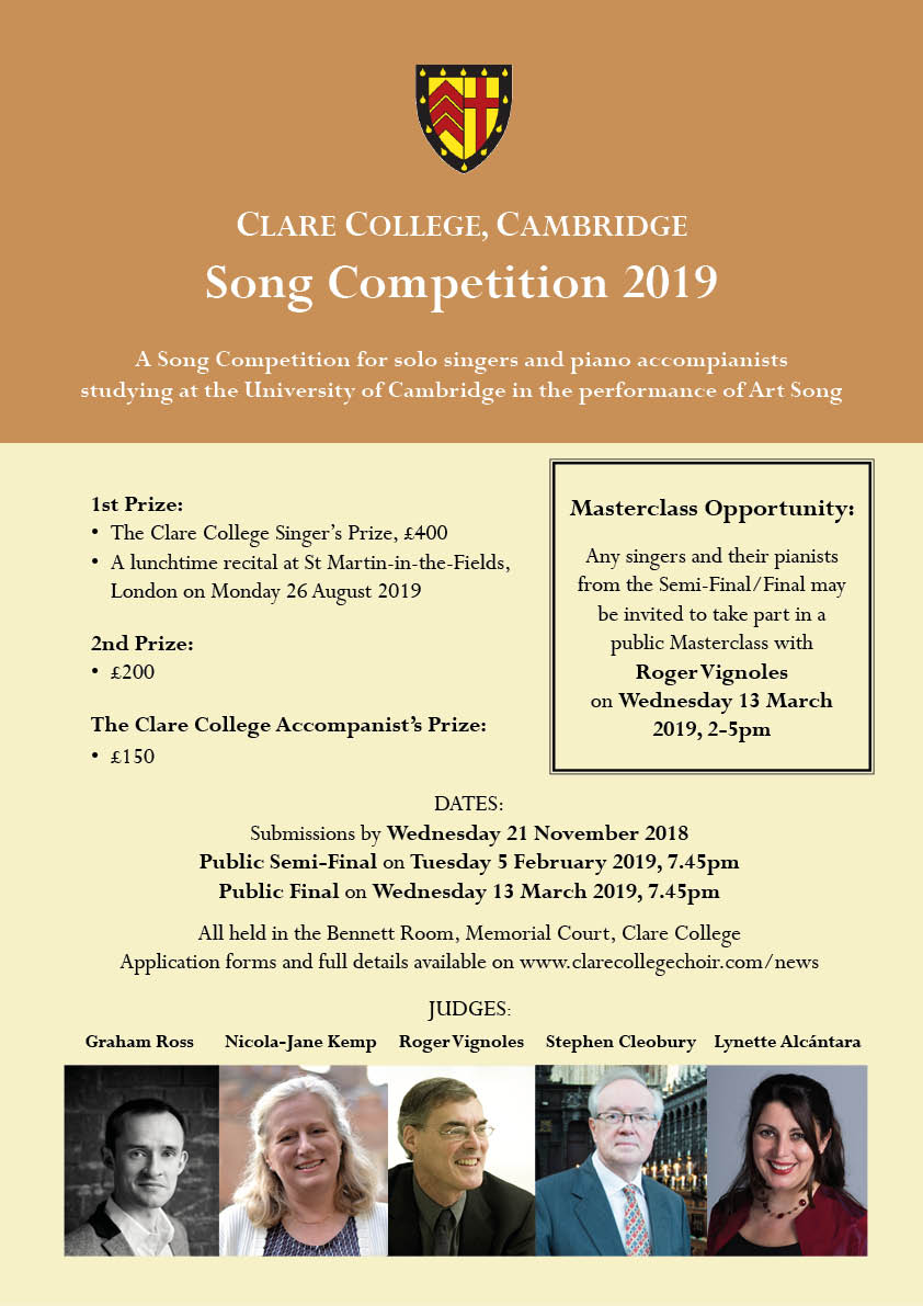 Clare College Song Competition 2019 - Clare College Cambridge